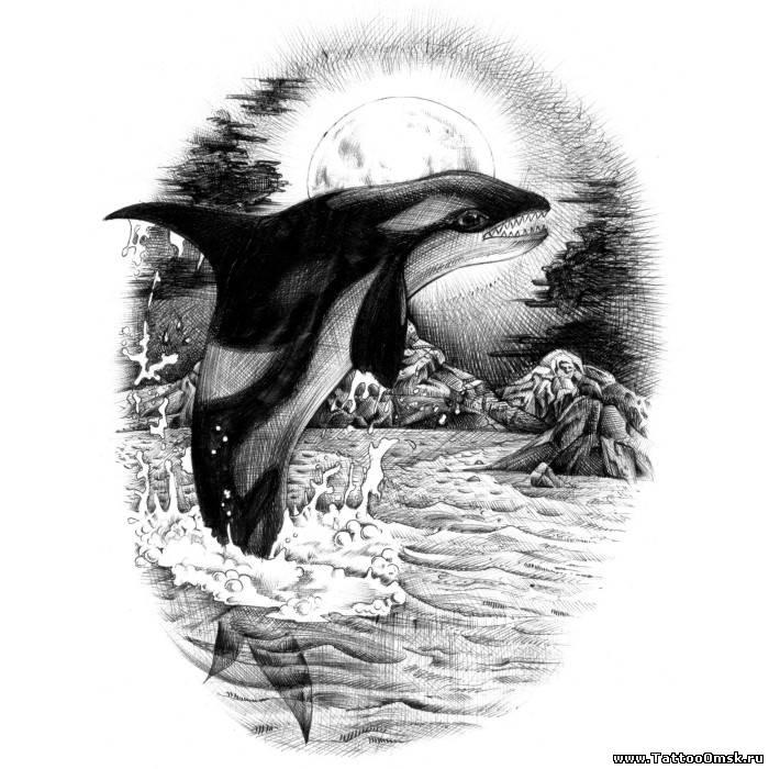 тату дельфин эскизы: